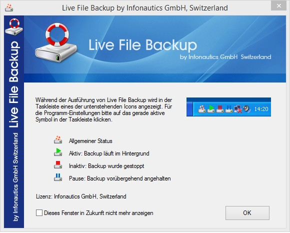 Hinweis zum Status der Backup-Software Live File Backup