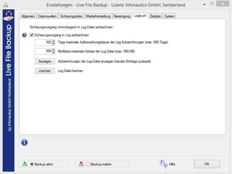 Logbuch verwaltet die Liste (Log) der gesicherten Dateien.
